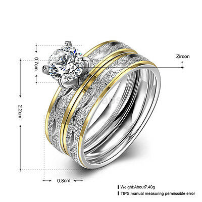 2pcs Stainless Steel Zircon Men/Women's Wedding Engagement Band Rings US