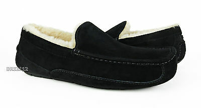 UGG Australia Ascot Black Suede Fur Slippers Mens 13 (Fits size 12) *NEW IN BOX*