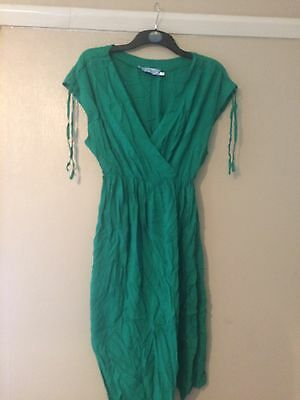 Green Wrap Top Maternity Dress Size XL Or Uk 16