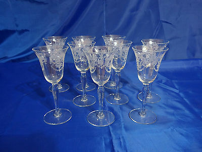 Vtg ETCHED LADY LEG STEM Claret Wine Glasses - Set of 9