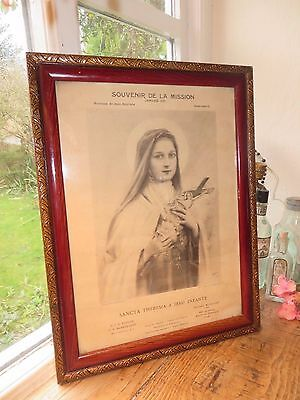 Beautiful Vintage French  Religious  Framed Print ~ St. Therese