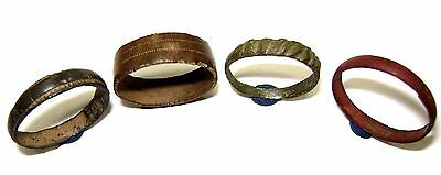 Ancient Lot of 4 Post Medieval bronze rings