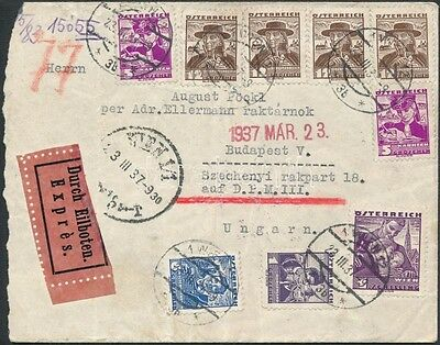 Austria stamp 1937 Express cover to Hungary (1237)
