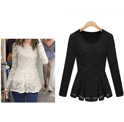 Womens Casual Lace Long Sleeve Bandage Bodycon Black Party Evening Dress Size M