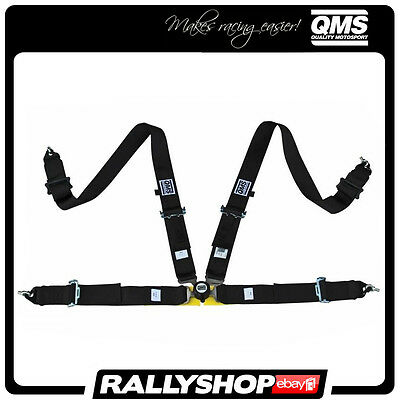 """NEW 2017! FIA QMS 4 Point Harness 3"""" BLACK Belts Light  Adjusters Quick release"""