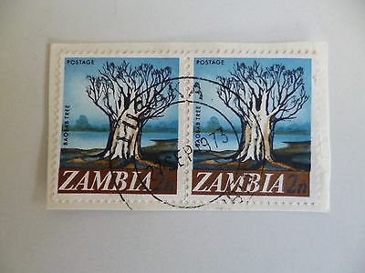 1973 Zambia. Lusaka Postmark On Two Stamps Of The Baobab Tree As Shown