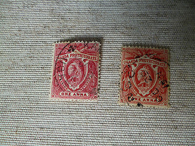 Uganda. 1898-1902  Two Used One Anna Stamps As Shown