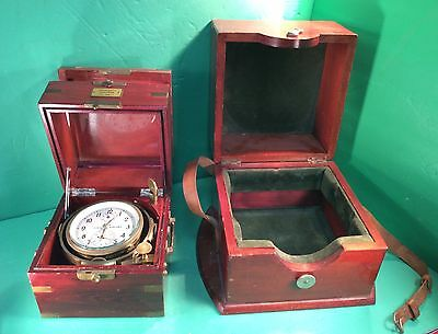 Marine Ship's Chronometer W/ Inner & Outer Mahogany Boxes