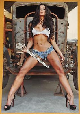 Hooters Girl Busty Truck Pinup 4x6 Photo Amateur Dirty Model Big Boobs W75