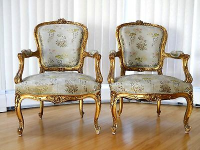 Stunning Pair of Louis XV Gilt Fauteuil Armchairs  19c All Original