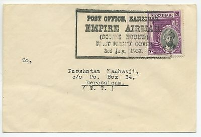 1937 First Flight Cover Zanzibar To Tanganyika