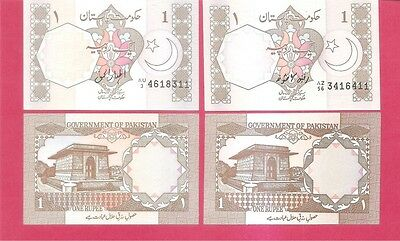 PAKISTAN  p27 - 1 rupee 1983 2 different SIGNATURES Uncirculated