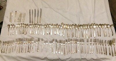 Antique Silver Plate Silverware Flatware lot of 115 Forks Spoons Knives