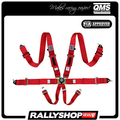 """NEW 2017! FIA QMS 6 Point Harness 3"""" RED Belts Light Quick release Racing"""