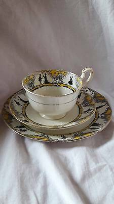 Paragon Star China 'Silhouette' Art Deco Yellow Colour Cup/Saucer/Plate Trio