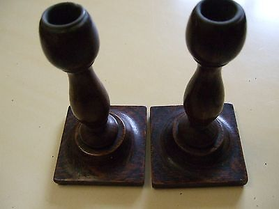 Vintage Pos? antiqueBeautiful  pair of old wood Oak Elm? candle sticks lovely Pa