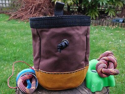 Climbing Bouldering Chalk Bag,waxed Canvas & Leather,Draw Cord,Merino Wool Lined