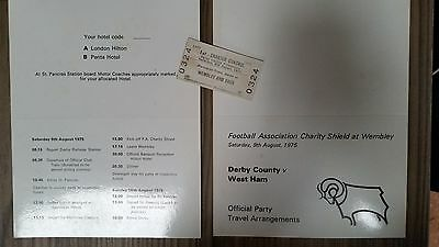 DERBY COUNTY v West Ham, Charity Shield 1975, Official Itinerary + rail ticket