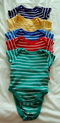 Set of 5 stripey short sleeve baby grows 0-3 months