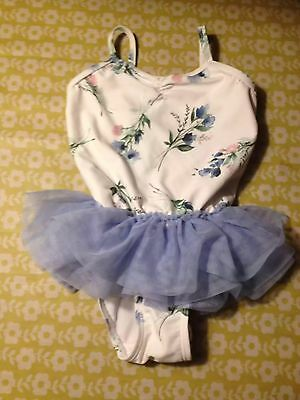 Lovely Girls White/ Pale Blue Next Swimming Costume - Size 1.5-2Yrs - Vgc