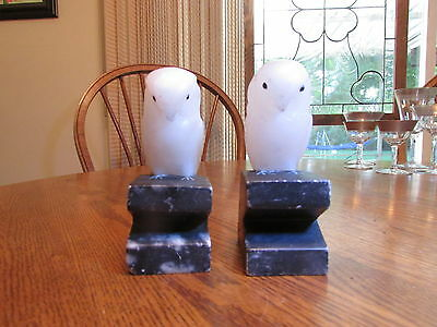 Carved White Marble Owls Figurine Sculpture ,Vintage-Italy