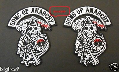 """{2}  Grim Reaper  """"sons Of Anarchy""""  Biker  Roadgear  Soa  Patches - Sew Or Iron"""