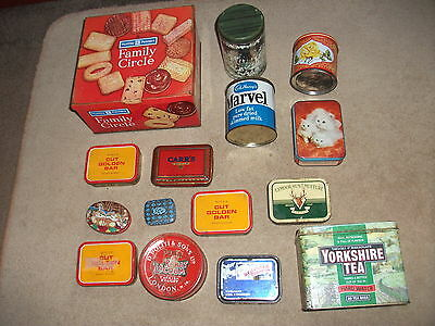 JOB LOT OF 15  x OLD ADVERTISING TINS CONTAINERS