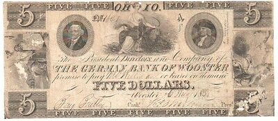 1838 The German Bank of Wooster $5 Banknote.