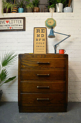 Vintage Art Deco Wooden Cupboard Cabinet Chest of 4 Drawers