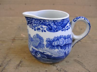 Spode Italian Blue & White Small Milk Cream Jug Blue Backstamp