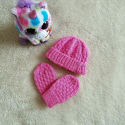 New Born Baby Knitted Hat and Mittens set, Pink, Handmade