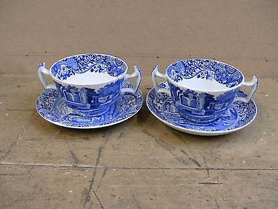 Pair of Spode Blue Italian Twin Handled Bowl/Cup & Saucer c1930
