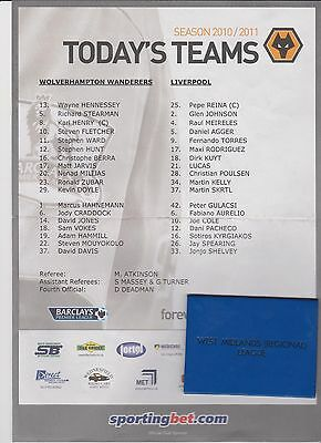 WOLVES v LIVERPOOL TEAMSHEET