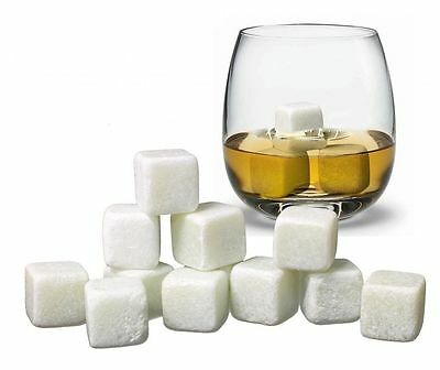 9pc Whisky Ice Stones Rocks Drinks Cooler Cubes Whiskey Scotch Granite Wine New