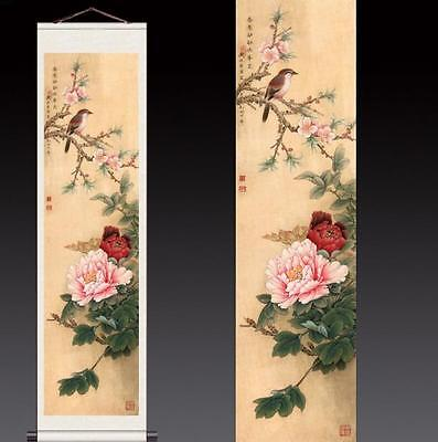 Peony Flowers & Birds Chinese Silk Scroll Painting Mural Home Office Decoration