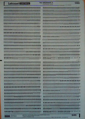 LETRASET Rub On Transfers GROTESQUE 9 :14pt (3.8mm) #1565 NEW