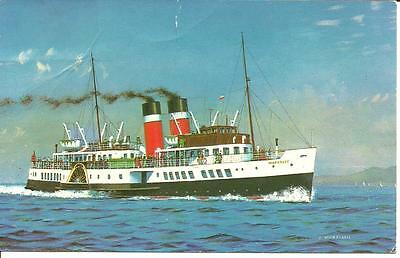 "2 STEAMER CARDS PS ""Waverley""  PURPLE CACHET + LONG PC Showing Waverley SAILING"
