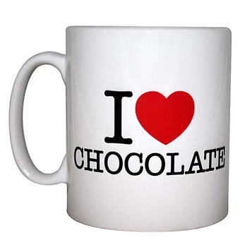 I Love Chocolate Mugs (with gift boxes) - 50 units, White
