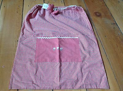 lovely vintage laura ashley red check laundry bag - girls room