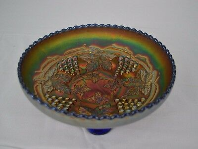 Vintage Fenton Grape & Cable Blue Carnival Glass Ice Cream Bowl Spatula Feet