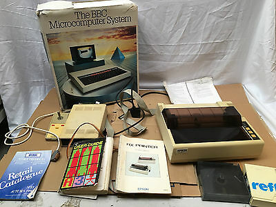 Acorn BBC Micro Computer Boxed With Disk Drive, Floppy Disks & Joystick Untested