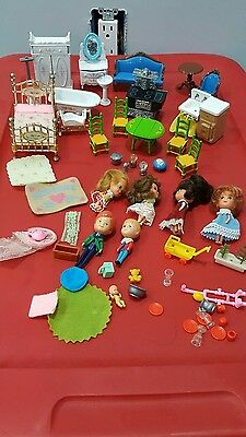 Lot of M.I. 1980 Philippines Little Kiddles Cast Iron Doll House Furniture