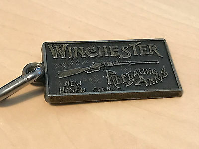 Vintage Winchester Repeating Arms Metal Keyring New Haven Connecticut