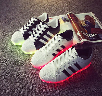 Unisex 7 LED Light USB Lace Up Sneaker Sportswear Striped Luminous Casual Shoes
