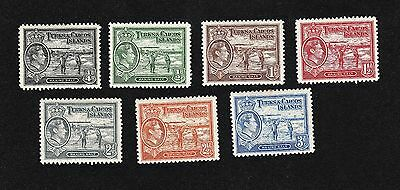 Turks & Caicos Islands short set of stamps to 3d 1938 Mint hinged (Lot38)
