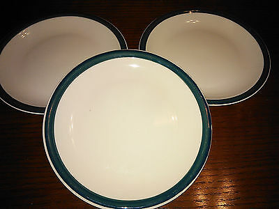 "3 Tienshan Kitchen Basics Ii Green Band 7 1/2"" Salad Plate Set Lot"