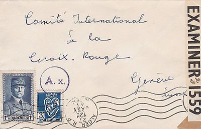 Algeria 1943 Double Censor Cvr at Paris and GB to Red Cross Switzerland 4F Rate