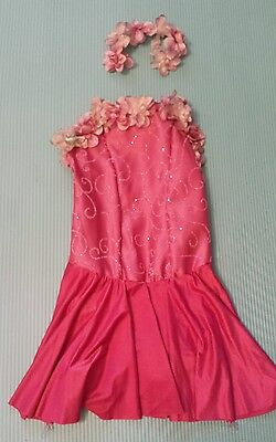 Curtain Call Costumes Pink Rose Flowers Dance Ballerina Ballroom Size 10C