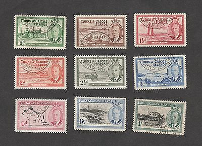 Turks & Caicos Islands short set of stamps to 1/- 1949 used (Lot39)