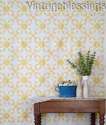 Vintage 30-40s Sunshine Summer Cottage QUILT Yellow & White Beauty